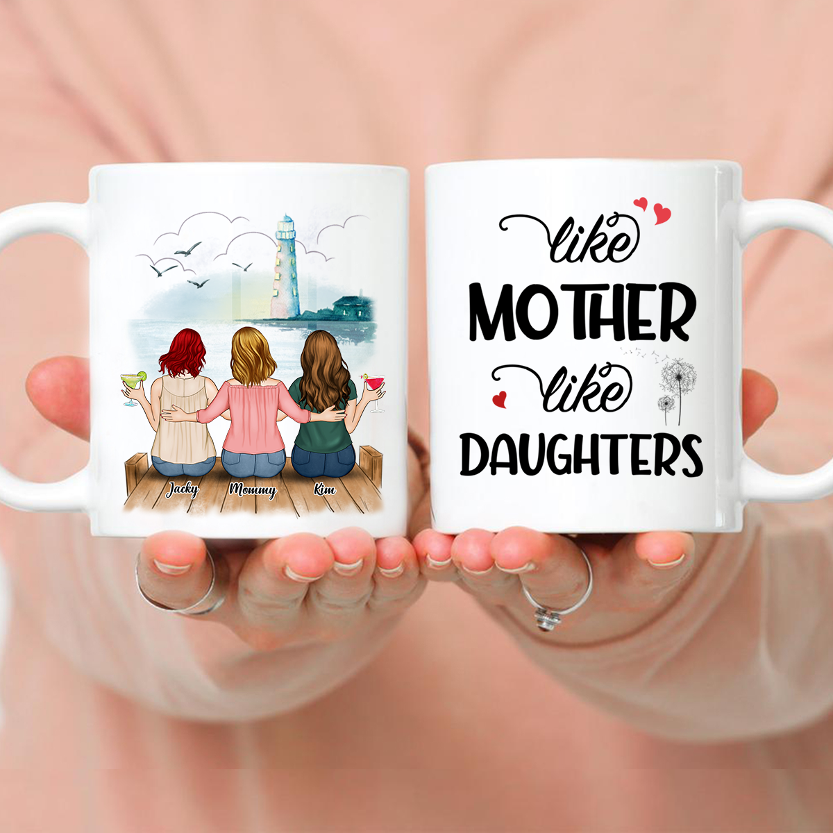 Up to 5 Mother and Daughters - Customized Background - Like mother like daughters